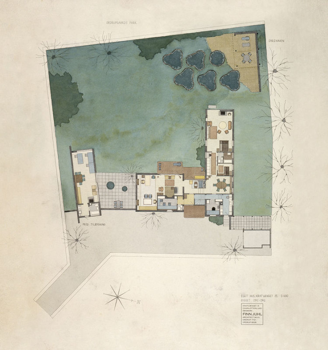 Finn juhls hus finn juhl from one backyard to another for Watercolor house plans